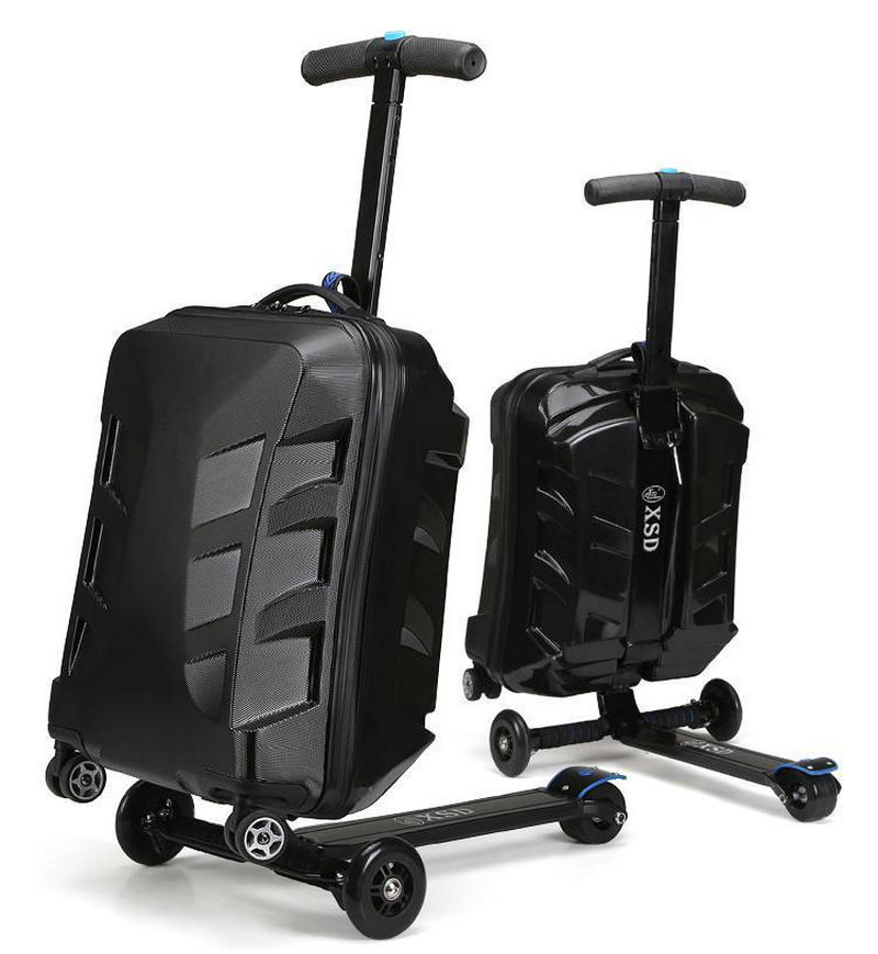 Men And Women Transformers Scooter Trolley Luggage Travel Bag Multifunction Suitcase 21 Inch In Rolling From