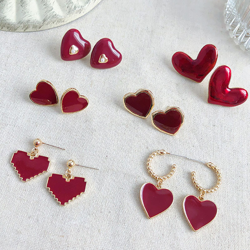 New-Fashion-Women-Stud-Earrings-Love-Heart-ClassShape-Pendientes-Girl-Ear-Jewelry-Gifts-Classic-Red-Brincos