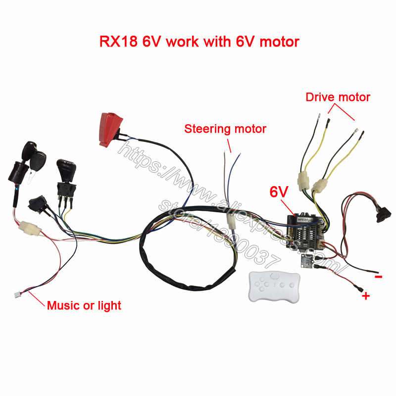 Children electric car DIY modified wires and switch kit,with 2.4G Bluetooth on