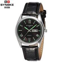 SYNOKE Marca Reloj de Los Hombres de Alta Calidad 2016 Impermeable 50 m Negocio Correa de Cuero Genuina Del Rhinestone Casual Simple Reloj de Pulsera Logotipo