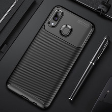 Raugee Case For Samsung A40 Case Cover Luxury Carbon Fiber Bumper Soft TPU Silicon Phone Case For Samsung Galaxy A40 A50 A20 A30(China)