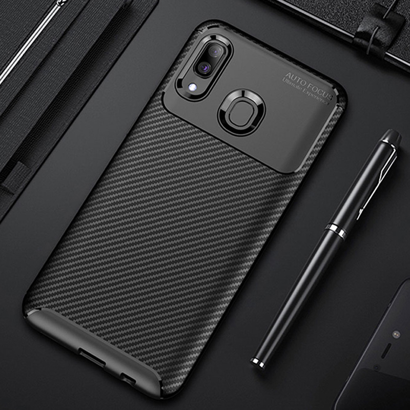 Raugee <font><b>Case</b></font> For <font><b>Samsung</b></font> A40 <font><b>Case</b></font> Cover <font><b>Luxury</b></font> Carbon Fiber Bumper Soft TPU Silicon Phone <font><b>Case</b></font> For <font><b>Samsung</b></font> <font><b>Galaxy</b></font> A40 A50 A20 <font><b>A30</b></font> image
