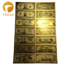 Full Set 7pcs USA $1-100 Dollar Gold Banknote Colorful World Money For Souvenirs, Golden Bank Notes Drop Ship