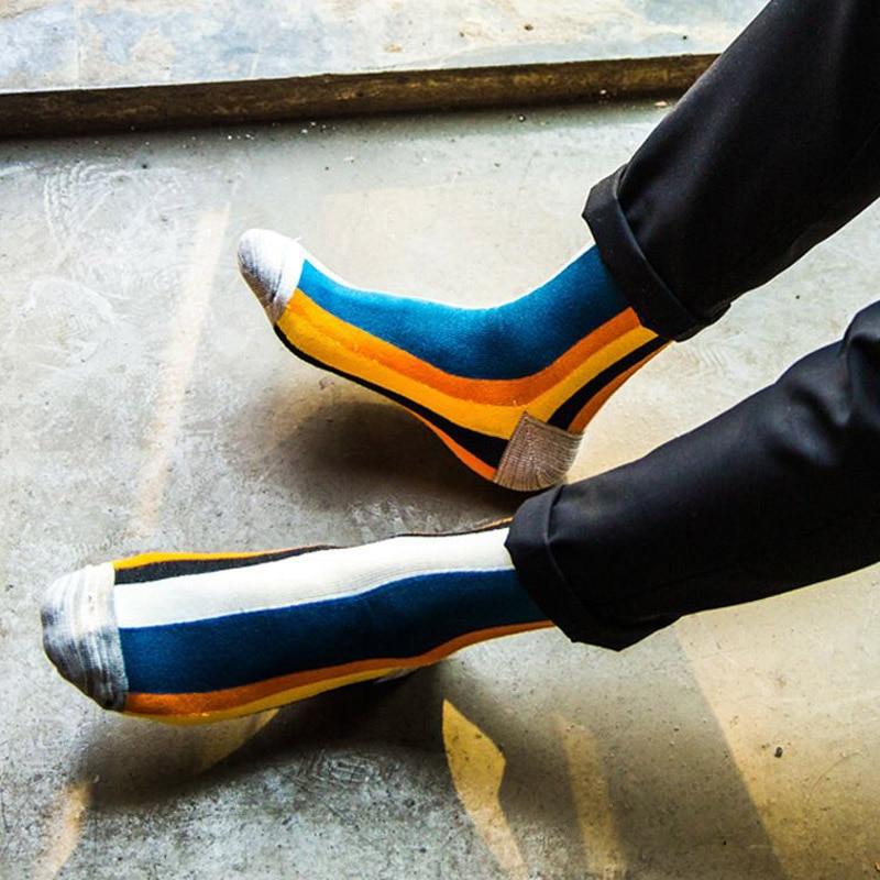 5Pairs/Lot Rainbow Striped Men Socks Color Fashion Brand Sokken Meias Cotton Sock Cheap Cool Mens Crew Socks Calcetines Hombre