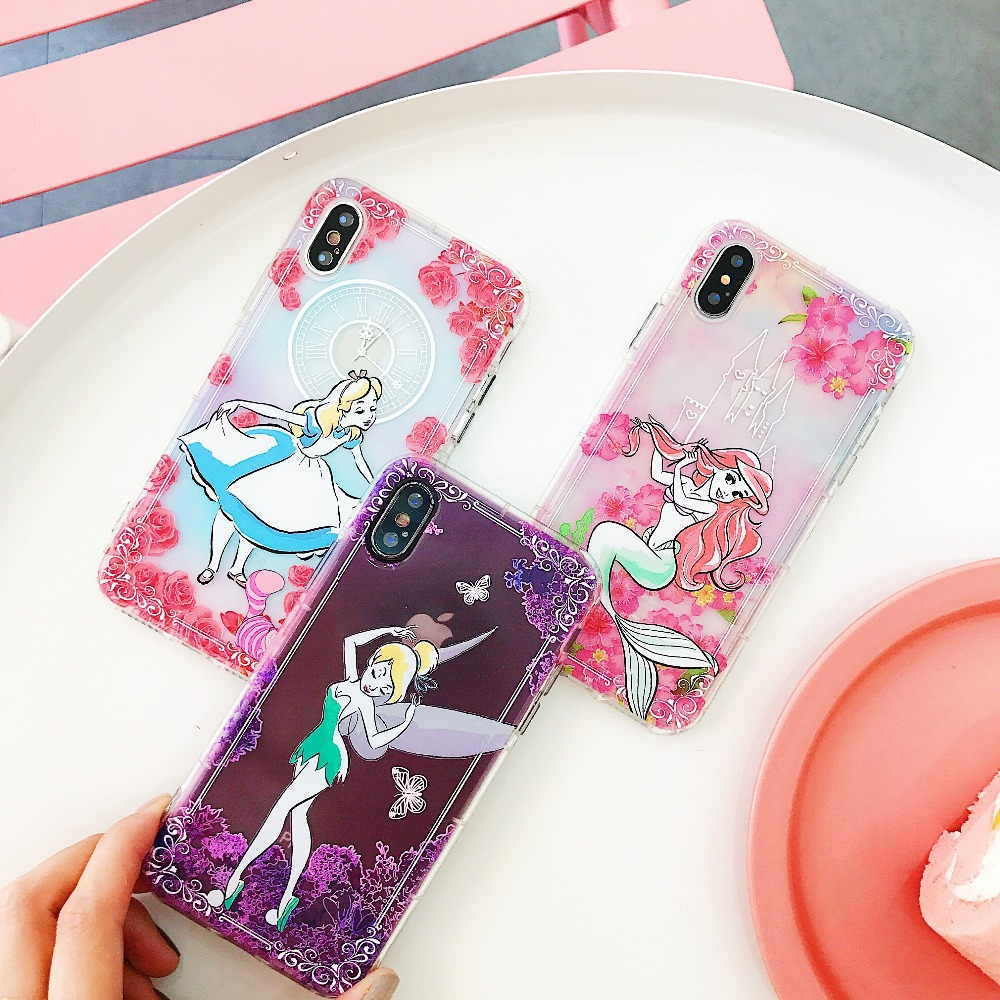 Cartoon Soft Mermaid Case Cover For iPhone XS MAX XR Phone Bag Case For iPhone X 6 6s 7 8Plus Fundas Alice Princess Flower Cases