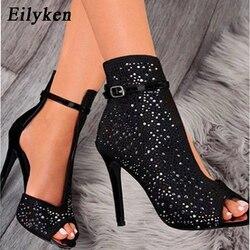 Eilyken 2020 nova mulher sandálias de cristal tornozelo cintas fivela transparente capa salto bombas senhoras sandálias sapatos de festa tamanho 35-43