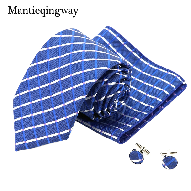 Mantieqingway 20 Colors Polyester Necktie Handkerchief Cufflinks Sets for Men Men's Wedding Jacquard Tie Hanky Cuff Links Set