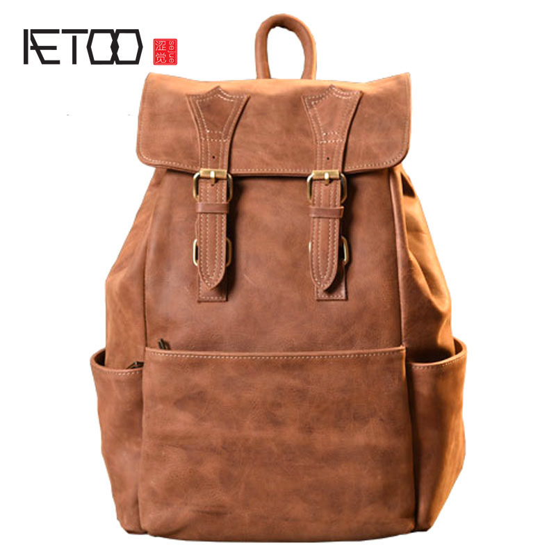 AETOO Original handmade crazy horse skin shoulder bag head layer cowhide art retro mad horse leather bag mountaineering travel b aetoo women retro shoulder bag fashion handbags europe and america shoulder bag head layer cowhide mad horse shopping bag