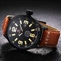 2016 Mens Relógios Top Marca de Luxo de Couro Strap Analógico Casual Relógios Desportivos Relógio Men Quartz Militar Assista Relogio masculino