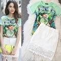 Женщины 2 шт. набор женщин устанавливает лето в стиле барокко печати рубашки юбки из двух частей юбка 2 шт. набор набор из двух частей растениеводство топ и юбка