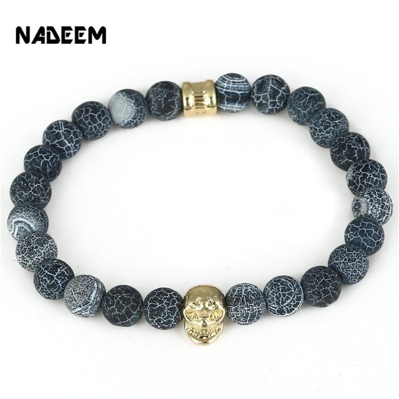 NADEEMM 2017 Skull Head Charm Buddha Bead Bracelet Bangle Natural Stone Bead Elastic Bracelet Men Women Jewelry Pulseras Hombre