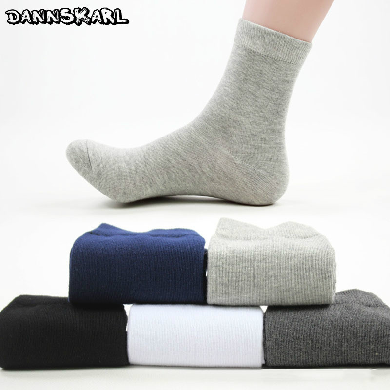 New Fashion Man Socks Autumn And Winter Cotton Socks For Men Solid Color Male Long Socks Breathable Black Meias Calcetines