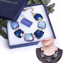 TrinketSea Blue Crystal Women Short Chain Statement Necklace Chokers New Style Fashion Jewelry Charm Pendant Wedding
