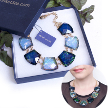 TrinketSea Blue Crystal Women Short Chain Statement Necklace Chokers New Style Fashion Jewelry Charm Pendant Wedding Necklaces