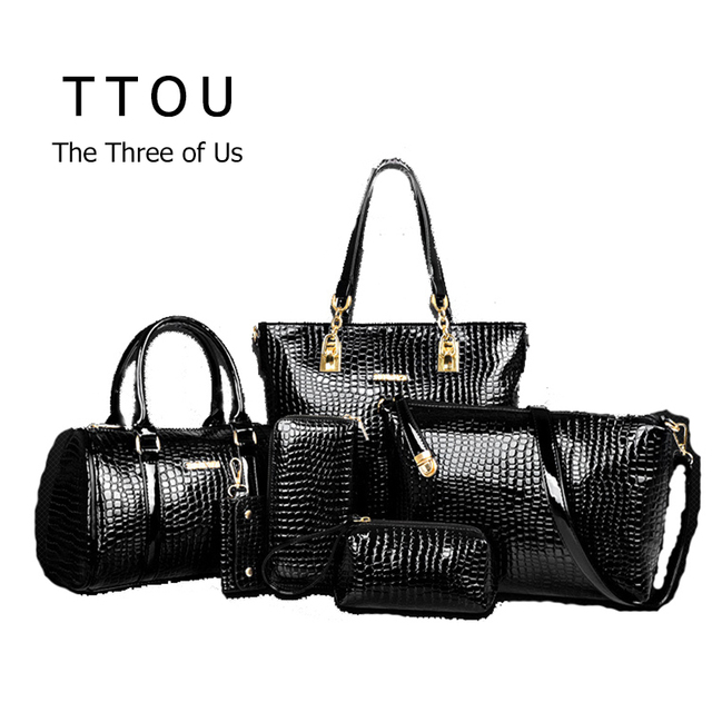 6 Pcs/Set Luxury Bag Handbag Shoulder Bag Tote KeyWallet PU Leather Designed Top-handle Bag For Women Female Messenger Bag TTOU