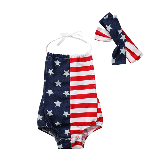 f827d88336c New Newborn Toddler Infant Baby Girl Jumpsuit Playsuit Bodysuit Headband  Outfit Stars Striped US Flag Fourth of July