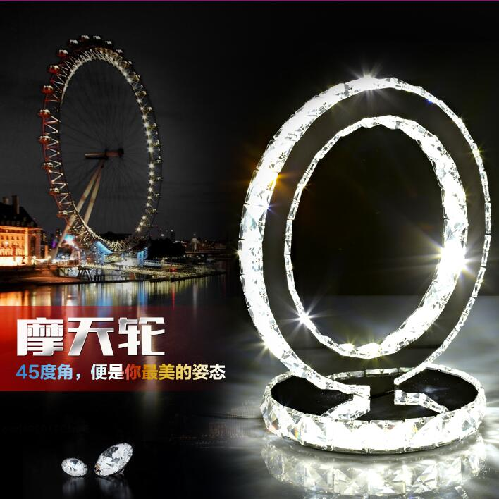 modern led lighting bedside cabinet table lamp stainless steel crystal LED desk lamp Dia 20cm 85-240V mds89664h steel bedside commode