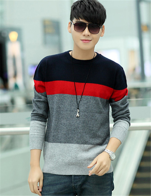Autumn&Winter Fashion Cashmere Sweater for Men O-Neck 3 Colors Knitted Pullover Sweaters Casual Patchwork Knitwear Jumpers