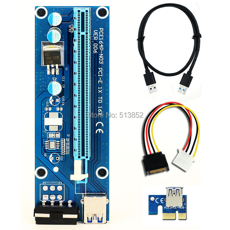 006 PC PCIe PCI-E PCI Express Riser Card 1x to 16x USB 3.0 Data Cable SATA to 4Pin IDE Molex Power Supply for BTC Miner Machine