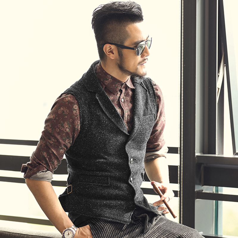 Wedding Hairstyle For Man: 2017 Men Retro Knitted Suit Vests British Style Men