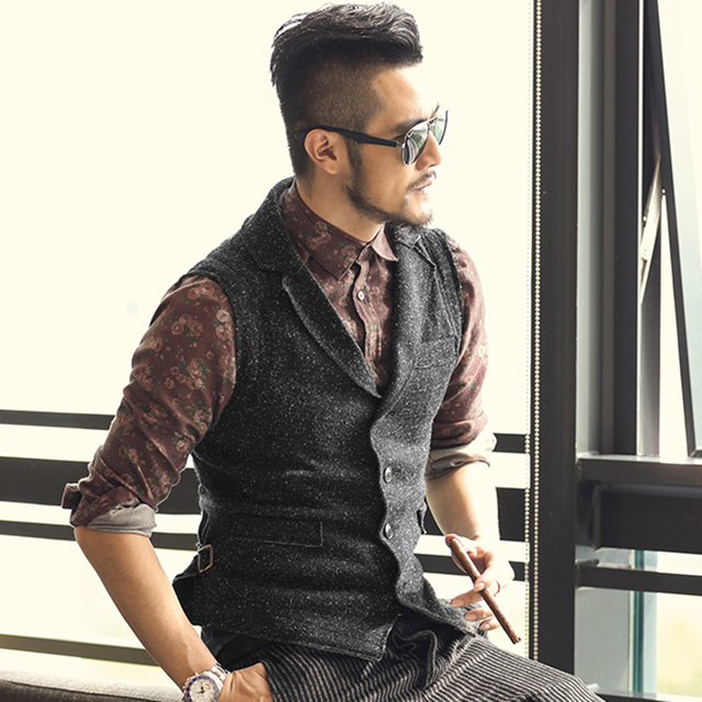 Wedding Hairstyle Mens: 2017 Men Retro Knitted Suit Vests British Style Men