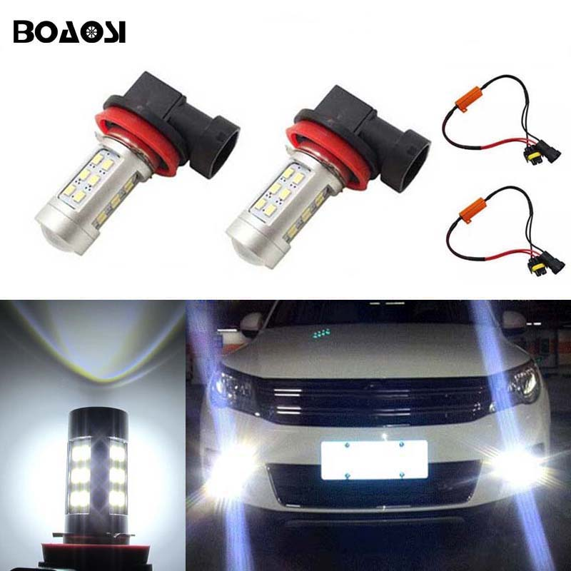 BOAOSI 2x 9006/HB4 Car Fog Lamp Driving Light Bulbs No Error For VW Golf 6 MK6 2009-2012 T5 Transporter 2003-2016 Scirocco 08-on boaosi 1x 9006 hb4 led canbus fog lights no error for volkswagen golf 6 mk6 2009 2012 scirocco 08 on t5 transporter 2003 2016