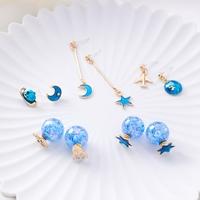 Blue Stud   Earrings   Jewelry Accessories   Fine   Star Moon   Earrings   Plane Rocket Funny   Earring   Body Jewellery Women Fashion   Earring