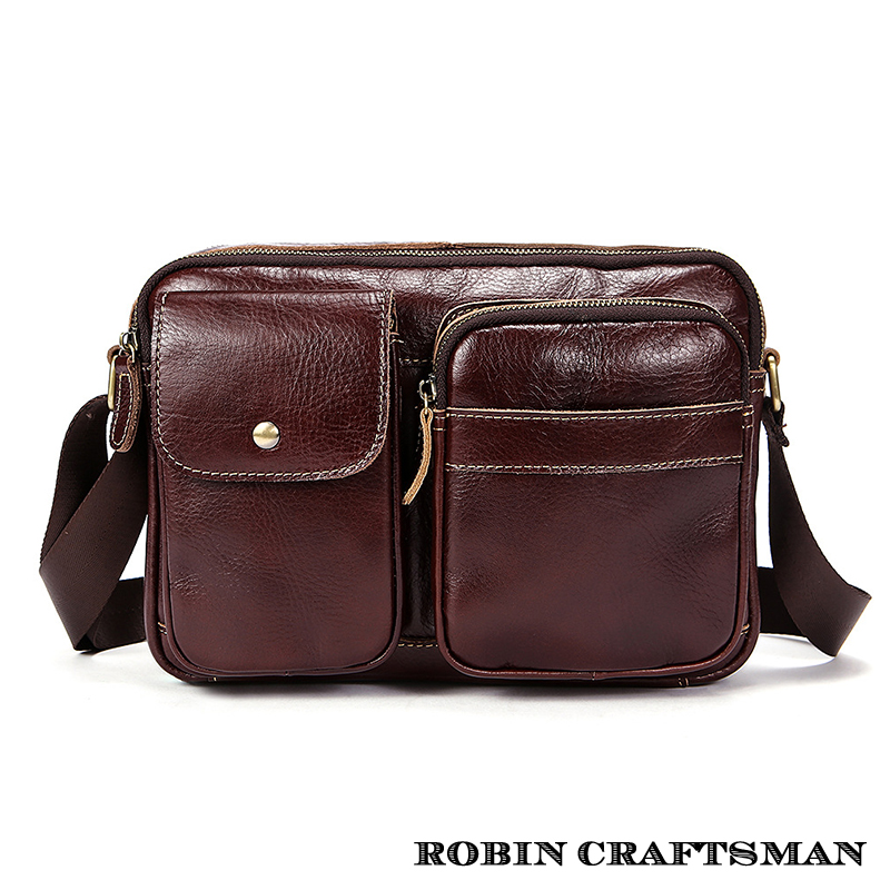 NEW Satchels Male Genuine Cow Leather Bags Coffee Brown Messenger Bags Fashion Single Shouder Bags Men Crossbody Bags (MLT7209) 2016 new fashion men s bags genuine leather men s messenger bags the first layer cowhide single shoulder bags crossbody bags