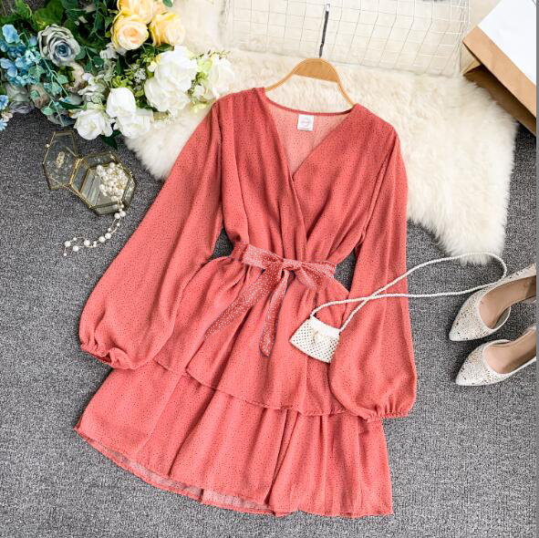 Korean Summer 2019 Sweet Women Dress Elegant V Neck Puff Sleeve Dot Print Dress Cascading Ruffle A Line Female Dress Vestido 35