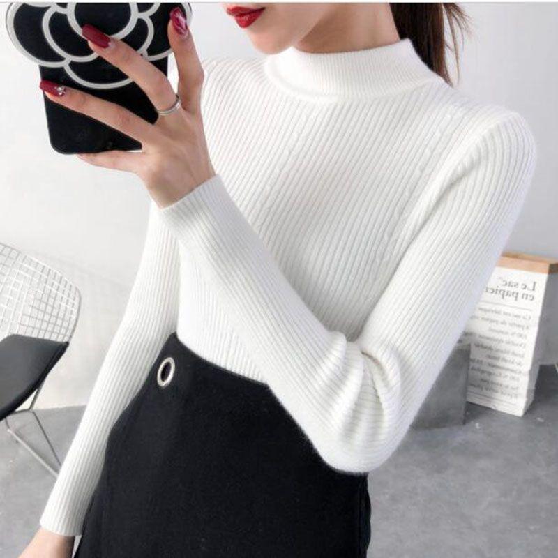 Warm Pullover Jumper Sweater Women Half Turtleneck Long-Sleeves Autumn Winter Korean