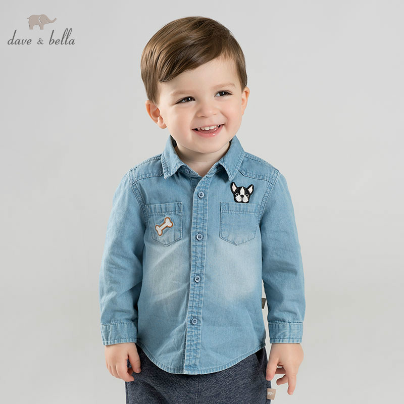 DBM10104 dave bella spring baby boys Denim shirt infant toddler 100% cotton tops children high quality clothesDBM10104 dave bella spring baby boys Denim shirt infant toddler 100% cotton tops children high quality clothes