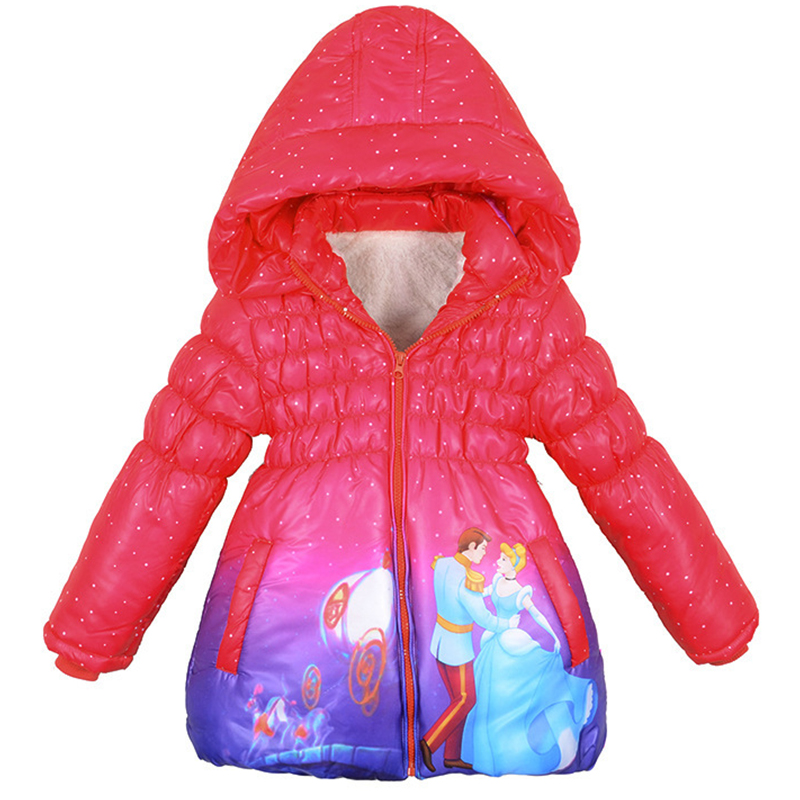Girls Warm Coat Snow Queen Cinderella Winter Children Hooded Outerwear Parka Jackets Snow suit 3-10yrs Kids Overall Clothing the snow queen