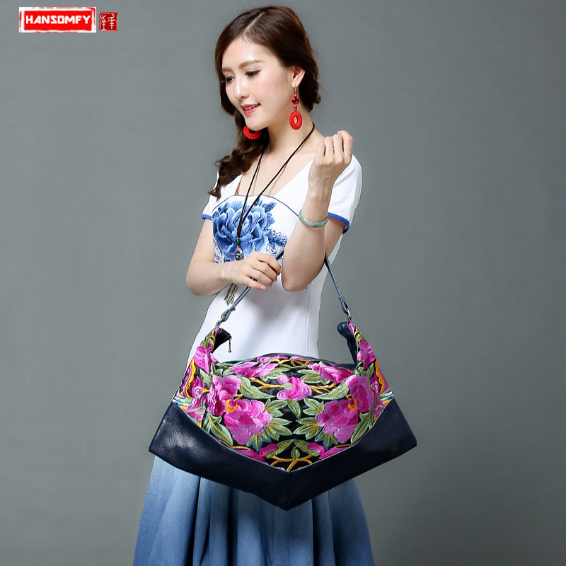 2018 new original Genuine leather Women Handbags shoulder portable embroidery bag ethnic style embroidery big dumplings bags стоимость