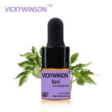 VICKYWINSON Basil essential oil 5ml natural aromatherapy Improve spirit Stabilization effect Firming WD23