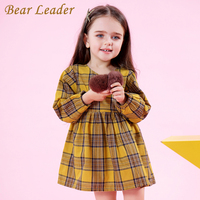 Bear Leader Girls Dress 2017 New Autumn Brand Girls Clothes England Style Plaid Fur Ball Bow