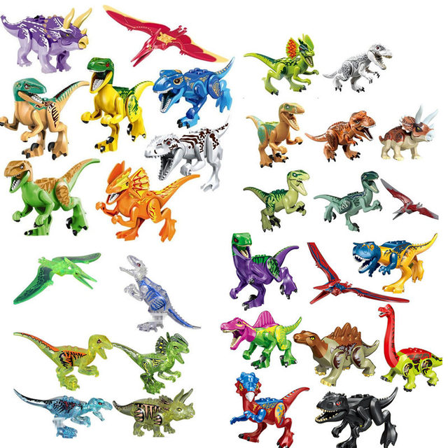 Mundo jurássico 2 Dinossauros Figuras Building Block Bricks Brinquedos Dinossauro Tiranossauro Rex Action Figure Model Collection