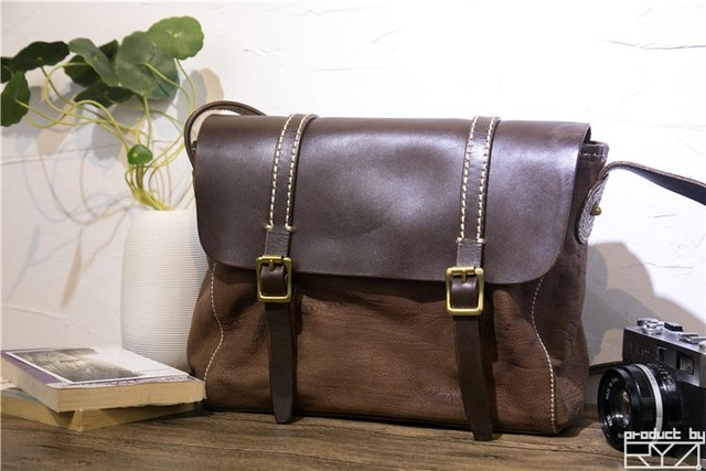 Handmade leather cowhide shoulder bag retro bag diagonal bag