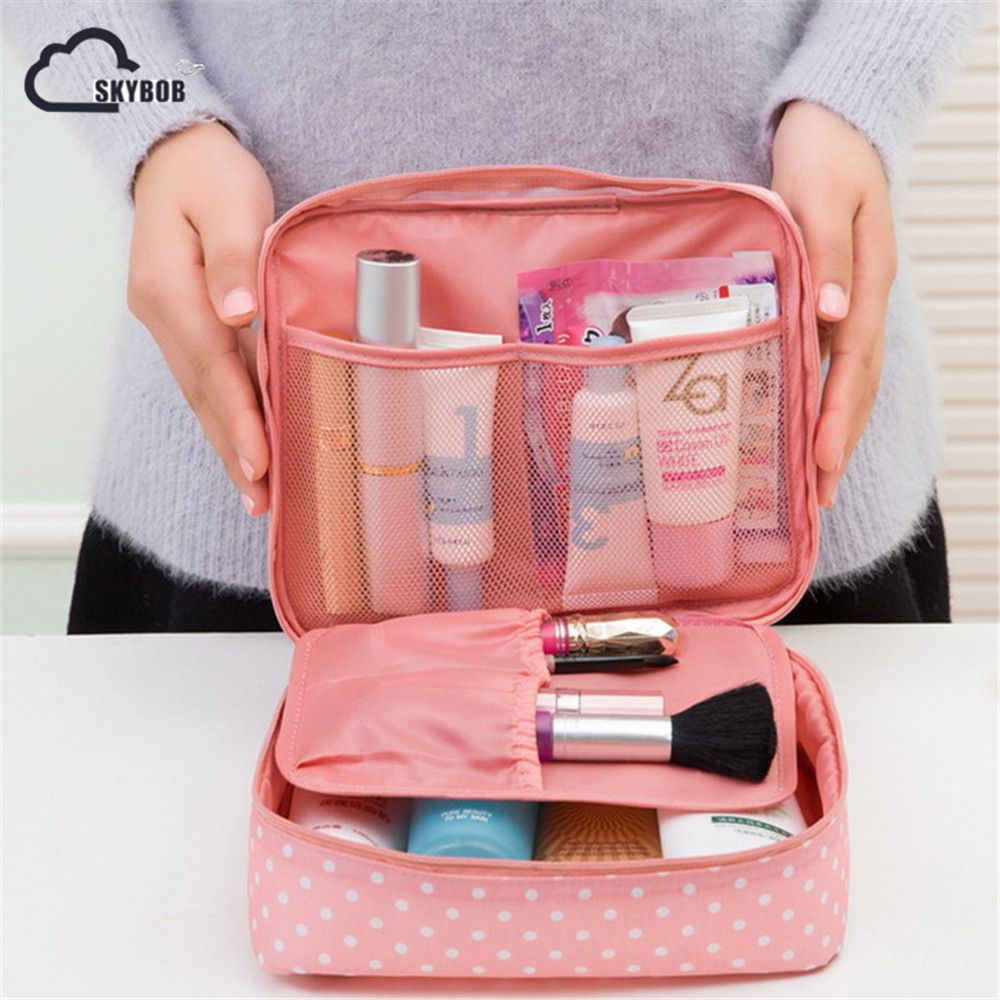 New Portable Toiletry Cosmetic Bag Waterproof Makeup Make Up Travel Kit Wash Organizer Zipper Storage Pouch Purse Brand Design edging design bleach wash zipper fly narrow feet slimming men s jeans