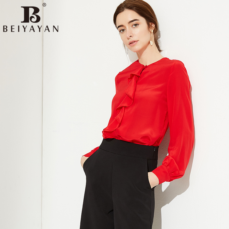 BEIYAYAN Fashion Chemise Femme for Work Ruffles Front Full Sleeve White Black Red Silk Blouse Shirt Women