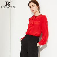 BEIYAYAN Fashion Chemise Femme For Work Ruffles Front Long Sleeve Silk Blouse Shirt Women