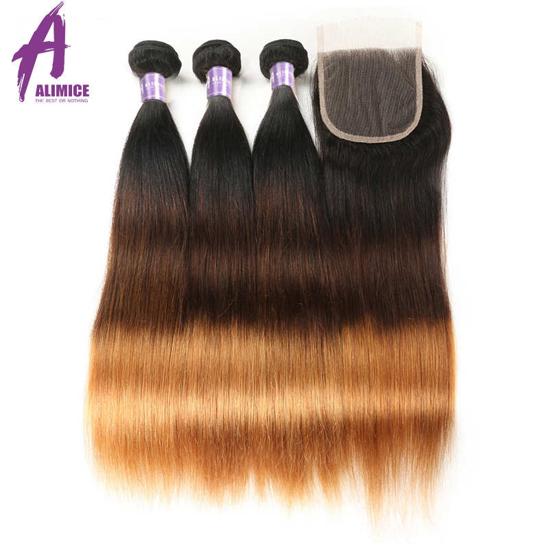 Diplomatic T1b/4/30 Ombre Straight Hair Bundles With Closure Peruvian Human Hair Weaves Bundles With Closure 3 Tone Alimice Remy Hair 3/4 Bundles With Closure Hair Extensions & Wigs