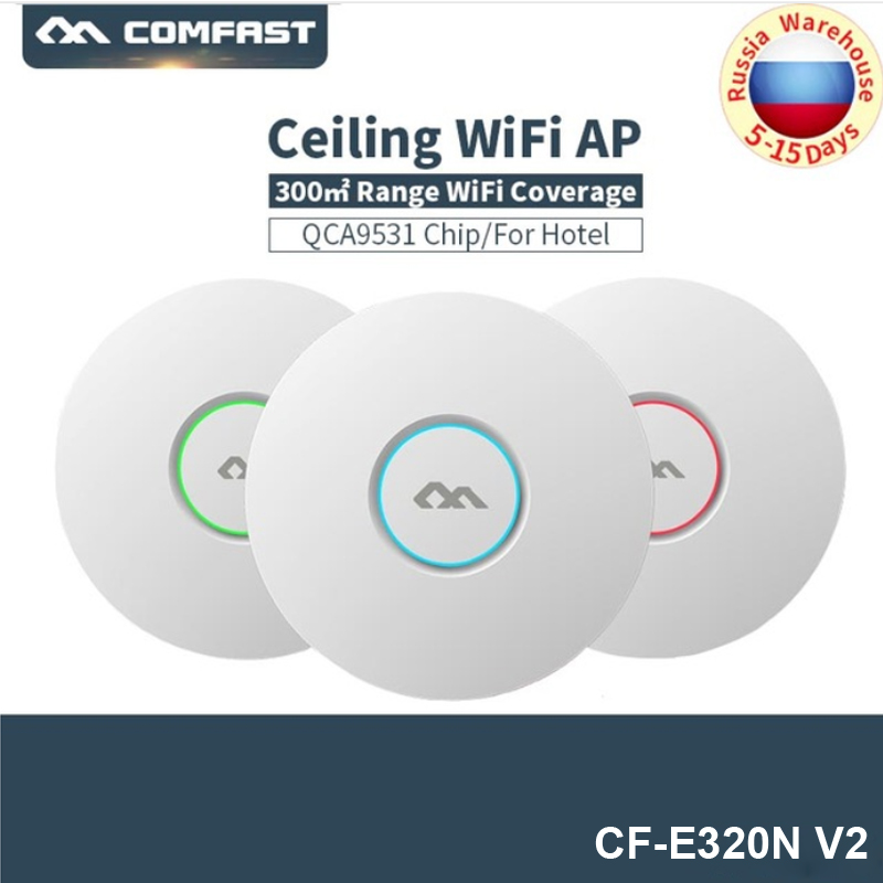 COMFAST E320NV2 300Mbps Wireless WiFi Ceiling AP 802.11b/g/n Indoor Open DDwrt Access Point With 16 Flash 48V POE Wifi Amplifier