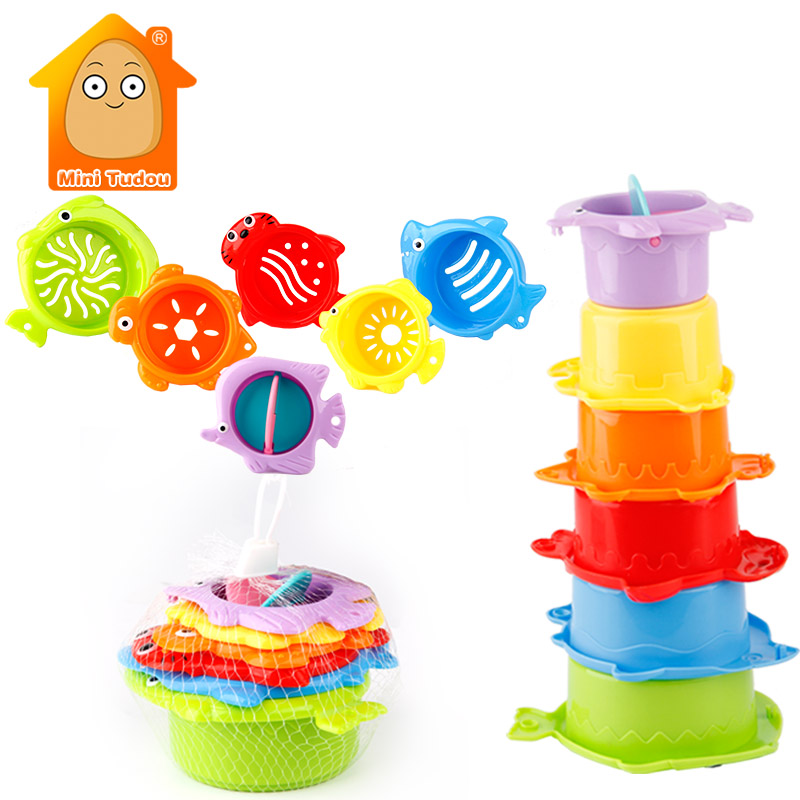 Kids Toy Baby Stacking Cups Funny Toys For Boy Girl Kid Baby Rainbow Tower Ring Stacking Stack Up Nest Children Education