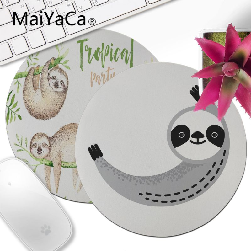 MaiYaCa Beautiful Anime Pajama Sloth Comfort Round Mouse Mat Anime Mouse Pad Computer Gaming Mouse Pad Best Mats For Gamer Gift