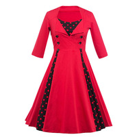 Sisjuly Women 2017 Vintage Party Dress Red Knee Length 1950s Retro Dresses Three Quarter Dots Sleeves
