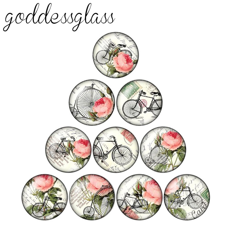 New Vintage Bicycle&flowers Pattern 10pcs 12mm/18mm/20mm/25mm Round Photo Glass Cabochon Demo Flat Back Making Findings ZB0515