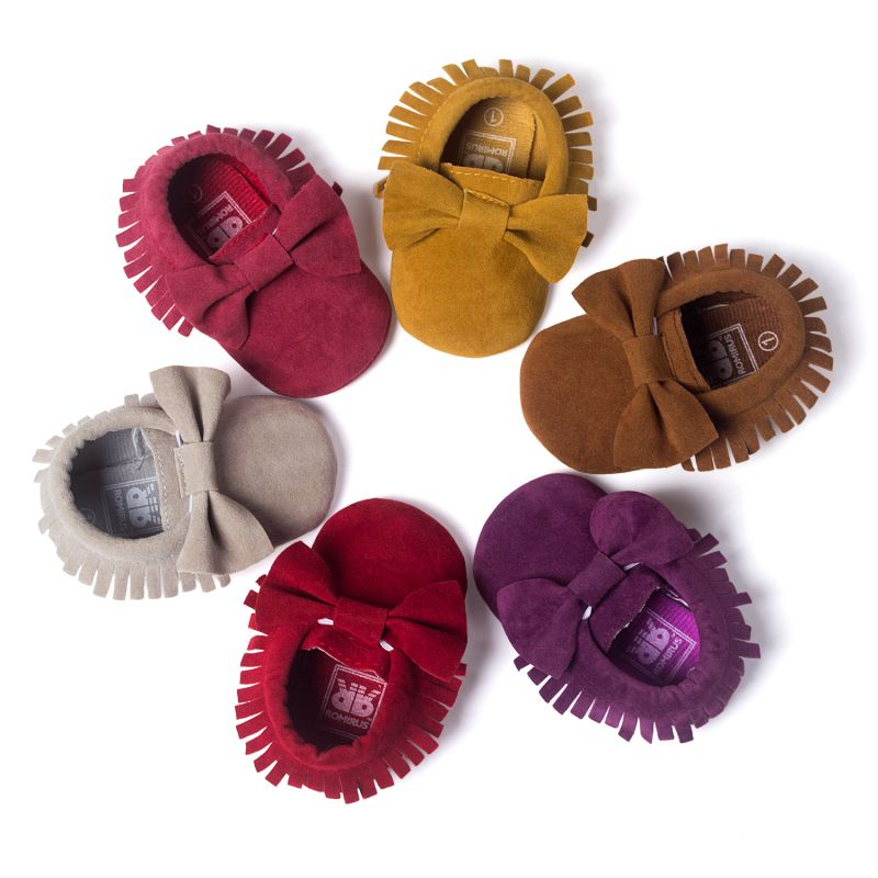 2016 Candy Colors Butterfly-knot Fashion Baby Moccasins Handmade Unique Suede Boots Soft Prewalker Shoes