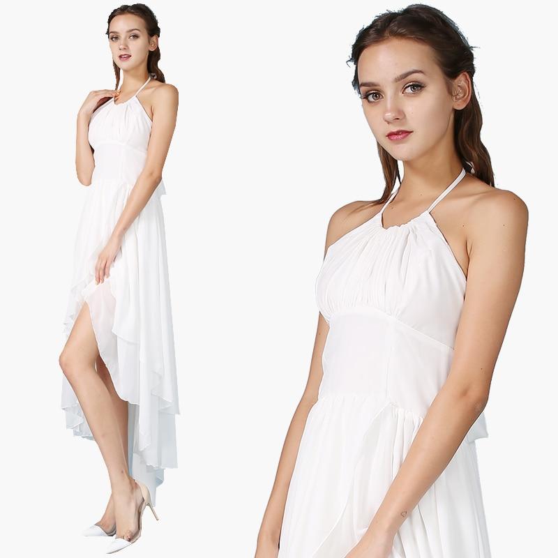 Summer Fashion Women Slim Dress Sleeveless Halter Spaghetti Strap Backless Sexy A-line High Waist Solid White Long Dresess