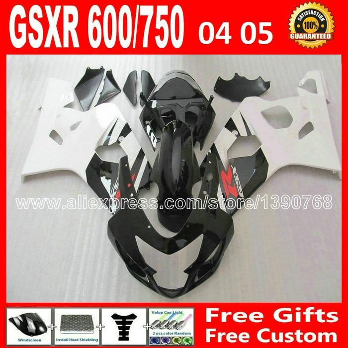 Бесплатно для 2004 2005 Сузуки глянцевый черный плоский белый GSXR 600 750 пользовательские обтекатель комплект gsxr600 К4 04 05 gsxr750 обтекатели комплекты ЗТВ 90
