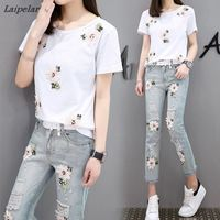 Denim Suits Women Pantsuit New 2018 Fashion Summer Woman Suit Short Sleeve 3D Floral Embroidery Two Piece Set Top and Pants
